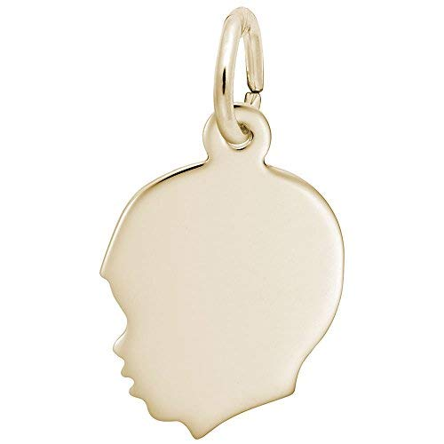 - Rembrandt Charms, Small Boy Silhouette, 10K Yellow Gold, Engravable