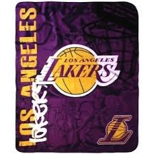 """NBA Officially Licensed Side Bar 50""""x60"""" Fleece Throw Blanket (Los Angeles Lakers)"""