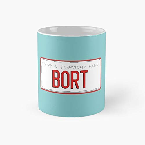 Bort License Plate Mug bort itchy scratchy homer bart simpson simpsons land springfield funny vacation burns smithers license plate novelty gift shop episode Funny Mugs, 11 Ounce 11oz ()