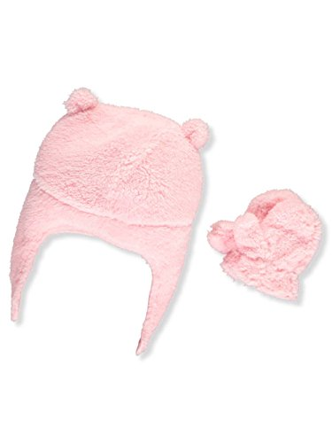 Carters Fleece Bear Velboa Pilot Hat and Mittens Set Pink 0-9M - Owl Fleece Hat