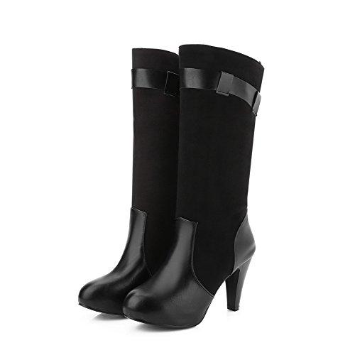 VogueZone009 Damen Blend-Materialien Mitte-Spitze Rein Ziehen auf Hoher Absatz Stiefel Schwarz