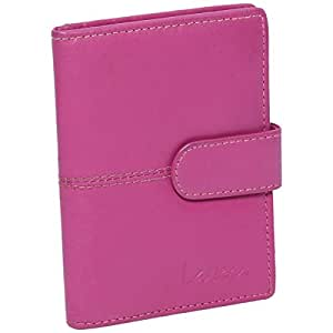 Laveri Genuine Leather Credit Card Holder Wallet Wallet and 20 Card Holder with Loop Button for Unisex - Leather, Pink