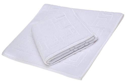 SALBAKOS Greek Key Bath Mat - White - Luxury Hotel and Spa Quality - 100% Turkish Cotton - 22x32 (2 Pack)