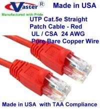 Cat5e Ethernet Patch Cable Made in USA Red 7 ft RJ45 Computer Networking Cord