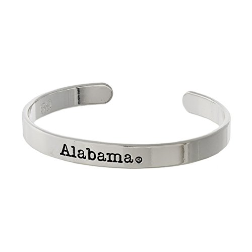 (ALABAMA CRIMSON TIDE SILVER SCHOOL CUFF BRACELET)
