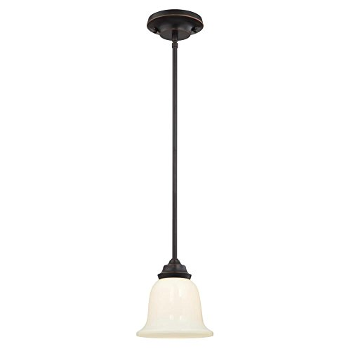 6304700 Harwell One-Light Indoor Mini Pendant, Amber Bronze Finish with White Opal Glass - Amber Mini Pendant