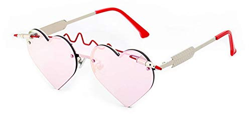 Unique Bullet Heart Sunglasses Women Fashion Rimless Pink Shades,Pink Mirror (Sonnenbrille Led)