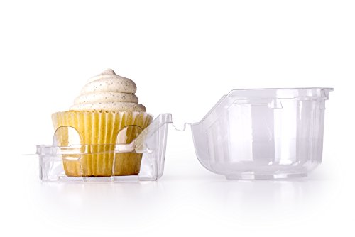 Individual Plastic Cupcake Boxes | Set of 48 Clear Plastic Dome Single Compartment Cupcake Holders With Improved Closing Mechanism (Cupcake Container)