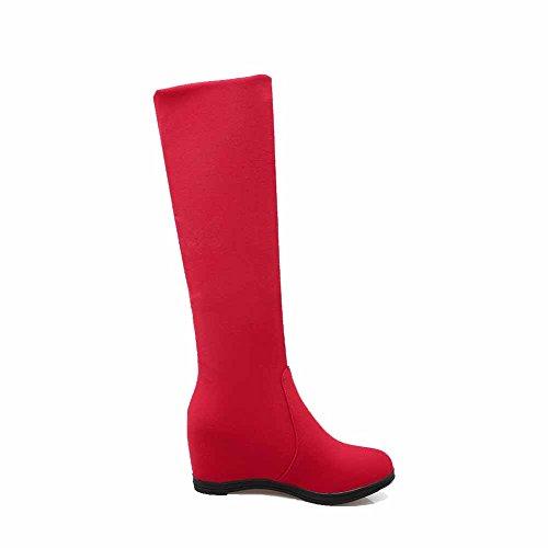 AllhqFashion Mujeres Puntera Redonda Cuña Interna Caña Alta Flexible Sin cordones Botas Rojo