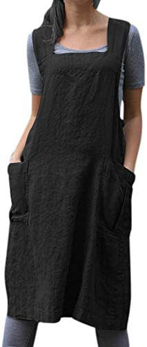 TOOGOO Vintage Overalls Dress For Women Pocket Apron Cross Strap Dress Cotton Casual Loose Sleeveless Sundress Lady Black XXL