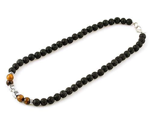 Sport silver dumbbell barbell black lava necklace Husband gift for men Rock jewelry Gemstone bead Talisman 8 -