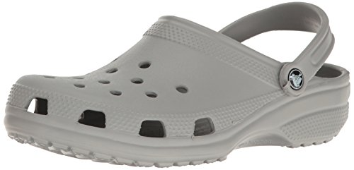 Crocs Men's and Women's Classic Clog, Comfort Slip On Casual Water Shoe, Lightweight, Light Grey, 8 US Women / 6 US Men