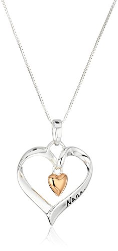 Two-Tone Sterling Silver and Rose-Gold Flashed Nana You Are Loved Heart Pendant Necklace, 18