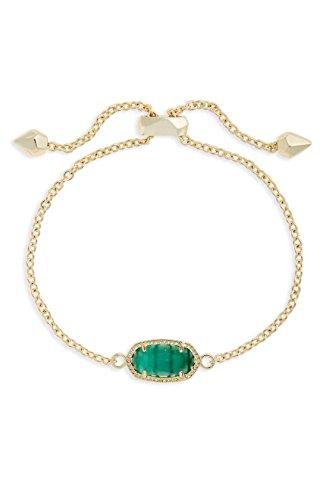 KendraScott Elaina Adjustable Chain Birthstone May/Emerald Cats Eye Bracelet