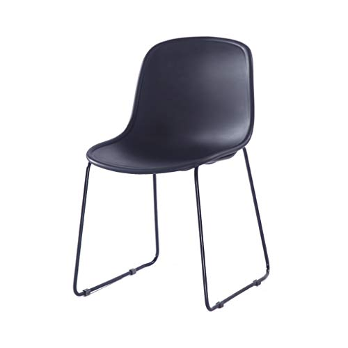 DUOER-Folding Chairs Black Plastic Stacking Chair- Canteen Office Meeting Room (Color : Black)