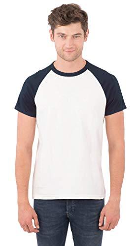 SOIZZI Fashion Men 100% Organic Cotton Basic T Shirt, Crew Neck Short Sleeve Baseball Tee White/Salute Navy ()