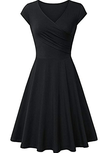 Pleats Vintage Little Black Dress - Hawa eye Formal Dress Women's Knee Length Curve Pleat Discount Dress Summer Party Swing Homecoming Ladies Capped Sleeve Dating Vintage Fashion Spring Ruched Soft Dress Black X-Large