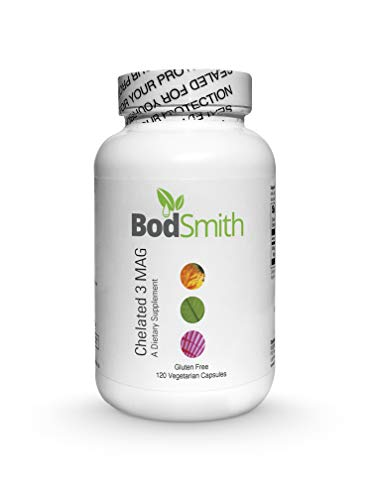 BodSmith Chelated 3 MAG - 300mg of Magnesium Taurate, Glycinate, and Malate for Optimal Relaxation, Stress and Anxiety Relief, and Improved Sleep. Professional Grade Supplement 120 Capsules.