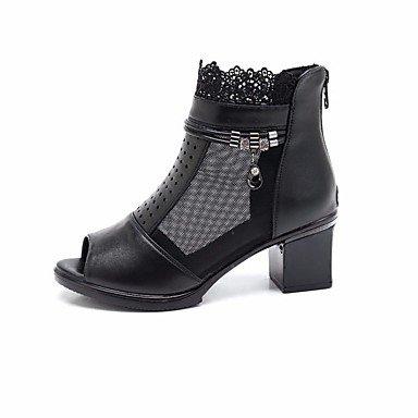 La mujer Confort Primavera Botas de cuero pu negro casual Black