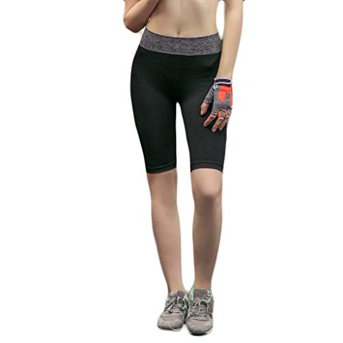 Forthery Women Yoga Shorts Pants Workout Running High Waist Athletic Short Sport Fitness Jogging Tights Tummy Control Clothes Black