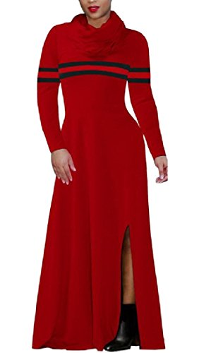 Pattern3 Collar Swing Dress Coolred Color Slit Striped Side Spell Women Piles xqqwv0S48