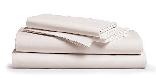 1000-Thread-Count 100% Pure Cotton Bed Sheets - 4 Pc California King Size Ivory Sheet Set, Single Ply Long Staple Combed Cotton Yarns, Best Luxury Sateen Weave, Fits Mattress Upto 18'' Deep Pocket