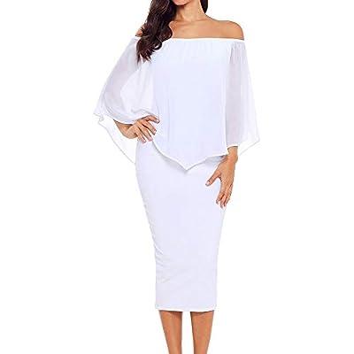 Alaseter Queen Women's Off The Shoulder Bodycon Midi Dress Layered Chiffon Ruffled Party Dress for Women