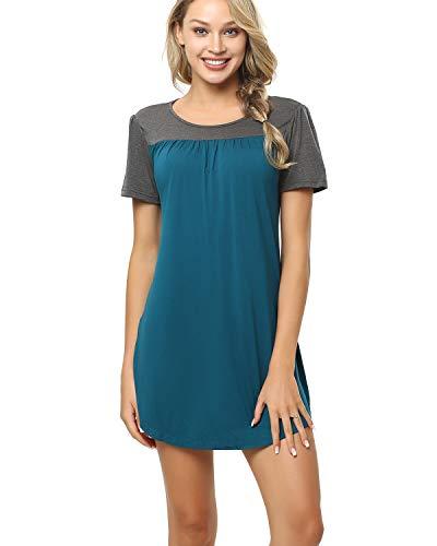 - ENIDMIL Womens Soft Sleep Shirt Nightshirt Pajama Tops Short Sleeve Nightgowns Sleepwear (Peacock Blue, Medium)