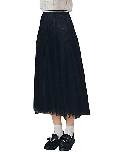 OCHENTA Femme Jupe A-Line Double Couche Gaze en maille Noir