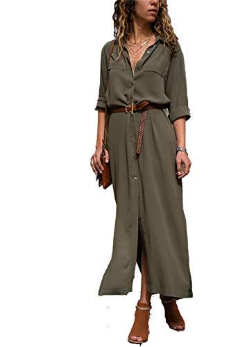 Cheryl Bull Fashion Women's DressMaxi Button Up Split Solid Flowy Evening Party Dresses Green M -