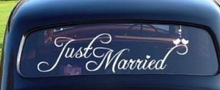 (DorAn Just Married Car Decals Just Married Window Stickers Window Cling 8' x 23.5' White)