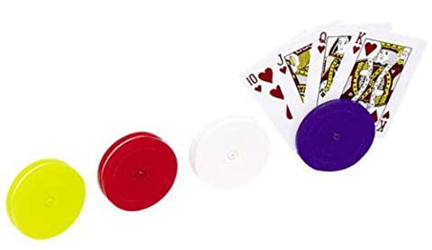 4 Piece Round Card Holders in Red, White, Yellow & Blue, Multi - Game Card Holder