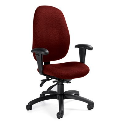 High-Back Pneumatic Multi-Tilter Office Chair with T-Arms Fabric: Renewal Blue Grass ()