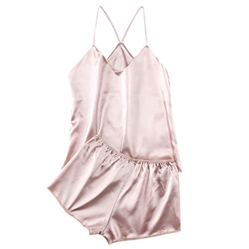 2PC Women's Plus Size Sexy Lace Nightgown Passion Solid Lingerie Sleepwear Babydoll Temptation Parjamas Sleepdress (Pink, XL-Bust:31.5-37.8'')