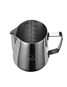 20 oz Stainless Steel Milk Frothing Pitcher with Measurement Scales for Espresso Machines, Milk Frother, Latte Art by HTL16