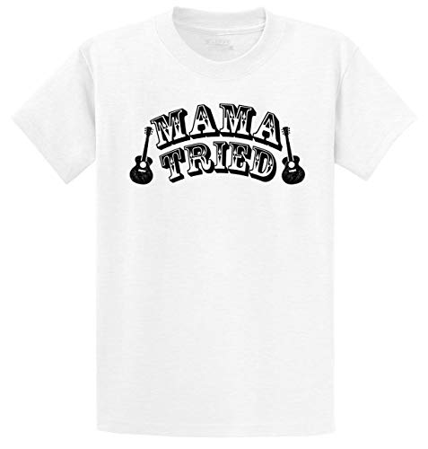 Men's Heavyweight Tee Mama Tried Cute Country Music Southern Rebel Shirt White S