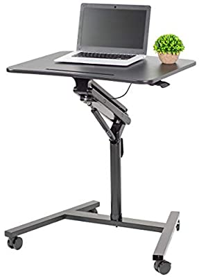 "VIVO Black Mobile 28"" Height Adjustable Rolling Lectern Podium Laptop Workstation Cart with Pneumatic Spring Lift (CART-V05H)"
