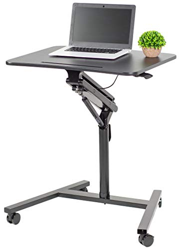 VIVO Black Mobile 28 inch Table, Height Adjustable Rolling Lectern Podium, Laptop Workstation Cart with Pneumatic Spring Lift -