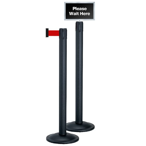 Beltrac Stanchion 2 Post Queue Line Kit, Black Post with 7 foot Red Belt and Sign Beltrac Post