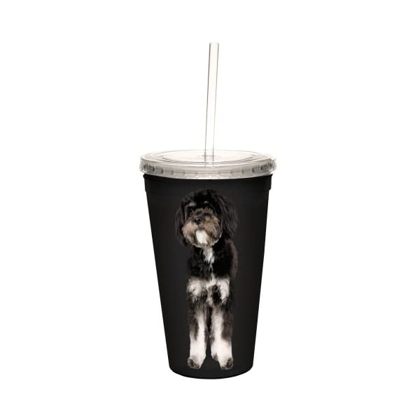Tree-Free Greetings CC35133 I Heart Tibetan Terriers Artful Traveler Double-Walled Cool Cup with Reusable Straw, 16-Ounce, Black and White 2