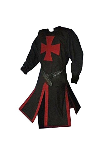 Hao Kaos Vintage Medieval Empire Knight Cloak Coat Templar Knight Crusader Warrior Robe Halloween Costume (XXL) (Templar Cloak)