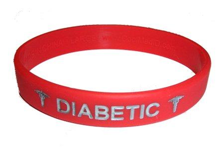 Diabétique ID médical bracelet rouge avec de l'argent couleur de remplissage Grand