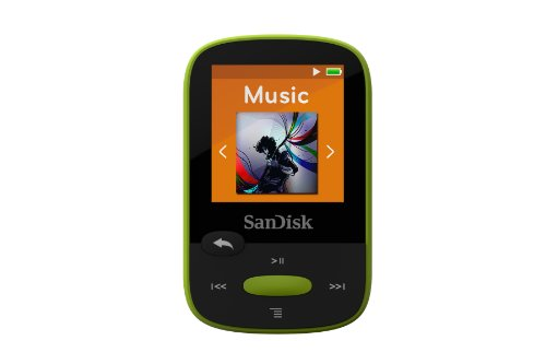 SanDisk 8GB Clip Sport MP3 Player, Lime - LCD Screen and FM Radio - SDMX24-008G-G46L