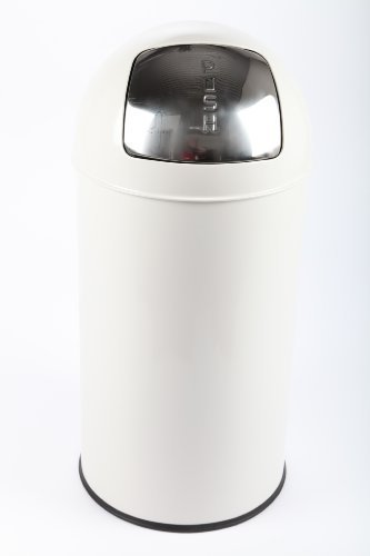 point-home Mülleimer Abfalleimer PUSH 52 L Stahl lackiert Farbe creme