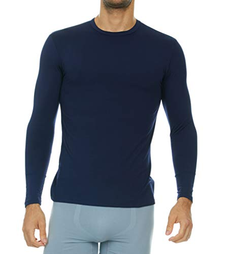 Thermajohn Mens Ultra Soft Thermal Shirt - Compression Baselayer Crew Neck Top - Fleece Lined Long Sleeve Underwear T Shirt (Navy, X-Small)