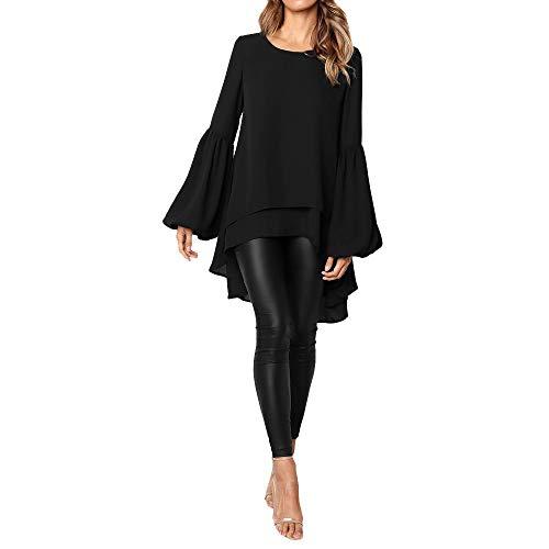 (Toimothcn Women Loose Casual Puff Sleeve Blouse Irregular High Low Hem Tops Plus Size(Black,XL))