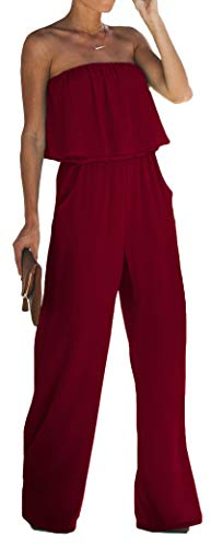 Longwu Women's Sexy Strapless Ruffle Wrapped Chest Off Shoulder Maxi Wide Leg Jumpsuit with Pockets WineRed-XL