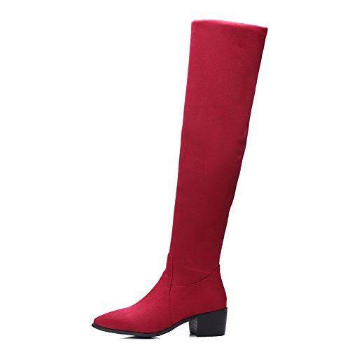 Sólido Gamuza Cordones Mujeres Imitado Rojo Sin Punta Medio Botas Puntera Tacón AllhqFashion en qaB5nZ1a