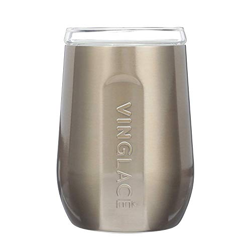 Vinglacé Stemless Wine Glass | Stainless Steel Outside, Glass Inside | Includes Spill Proof Lid | Double Walled, Vacuum Insulated | For Hot & Cold Beverages | Holds up to 10 oz | 5