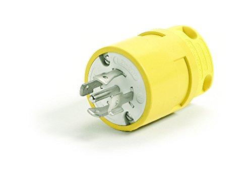 Woodhead 2682 Super-Safeway Plug, Industrial Duty, Locking Blade, 3 Phase, 4 Poles, 5 Wires, NEMA L22-20 Configuration, Rubber, Yellow, 20A Current, 480V Voltage by Woodhead